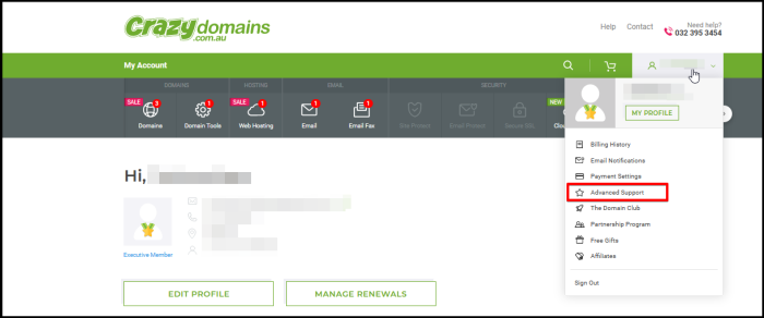 access advanced support option via account manager options drop down list