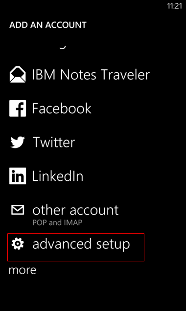 set up Windows mobile to send and receive email Step 5