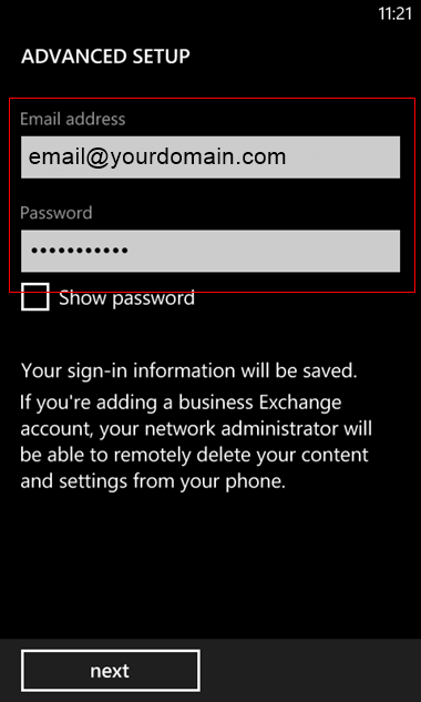 set up Windows mobile to send and receive email Step 6