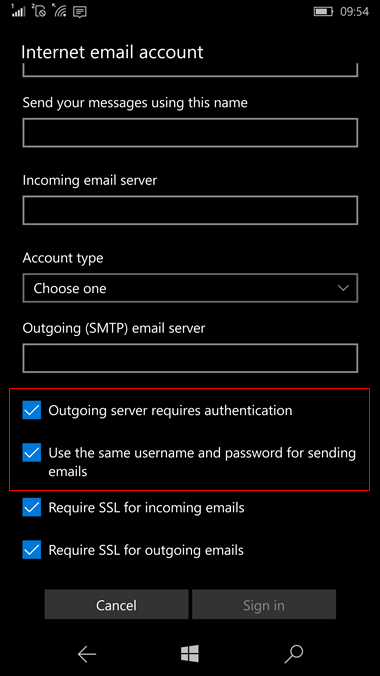 set up Windows 10 mobile to send and receive email Step 9