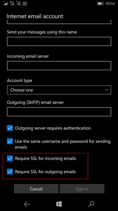 set up Windows 10 mobile to send and receive email Step 10