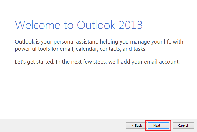 setting up outlook 2013 to check email step 1