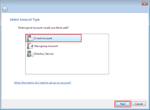 setting up vista to check email step 4