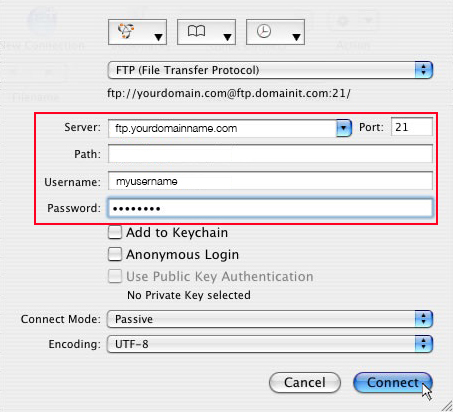 using cyberduck mac to upload image with server, username and password